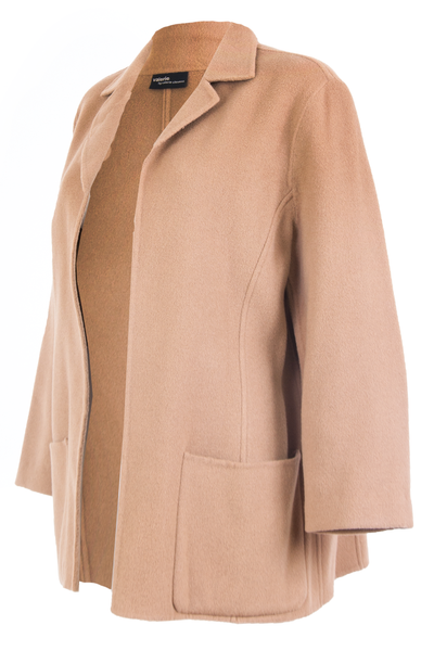 vintage camel coat with unfinished hem