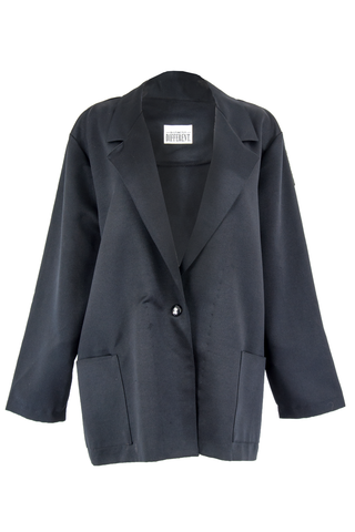 Black satin coat with wide pockets and lapel collar