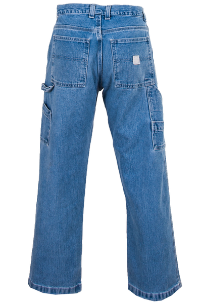 vintage blue jeans with multiple pockets