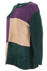 Velour colorblock sweater in green, purple, and tan