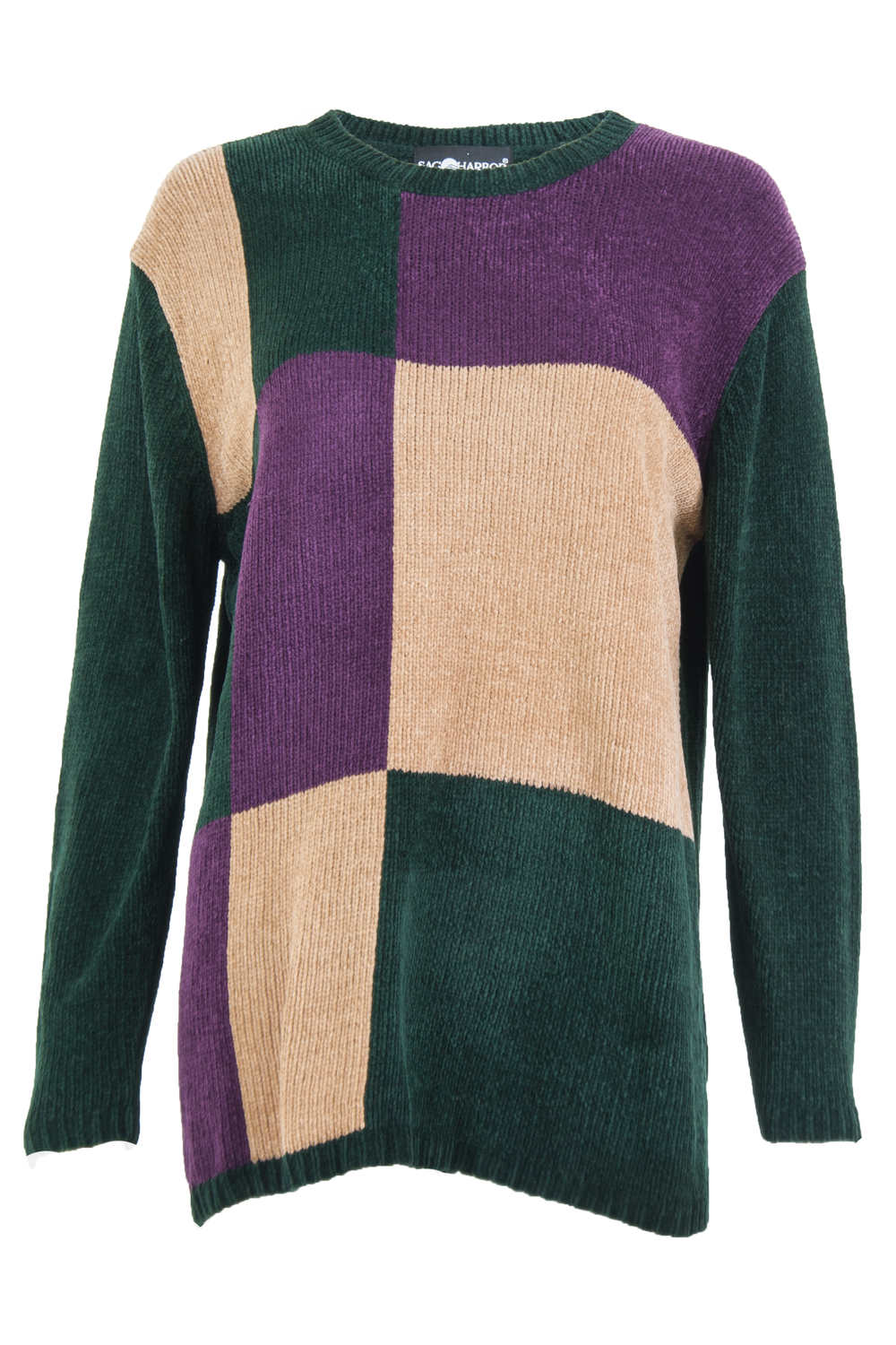 Vintage velour sweater with camel, green, and purple colorblock grid.
