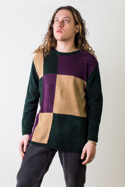 vintage velour color block sweater