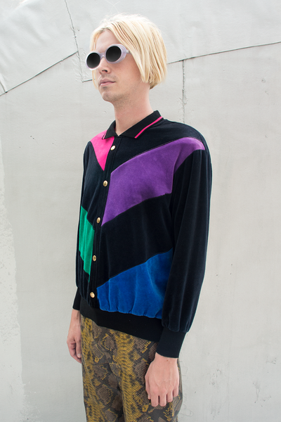 color blocked vintage velour sweatshirt