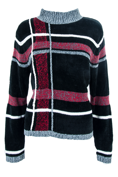 vintage black velour sweater with mock neck and red with grey grid pattern throughout