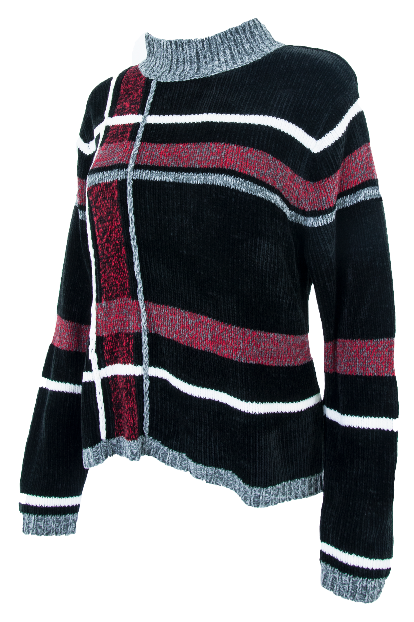 vintage black velour sweater with red and grey grid pattern throughout and mock neck.
