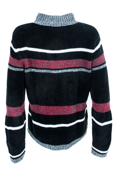 vintage black velour sweater with red and grey grid pattern throughout and mock neck