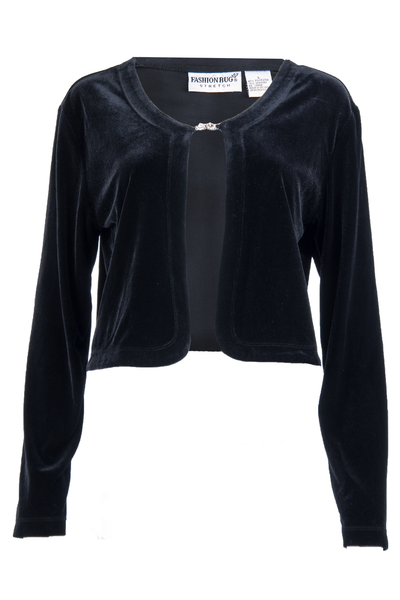 Black velvet vintage cardigan capelet with crystal closure