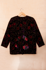 vintage multicolor velvet floral jacket from the 90s