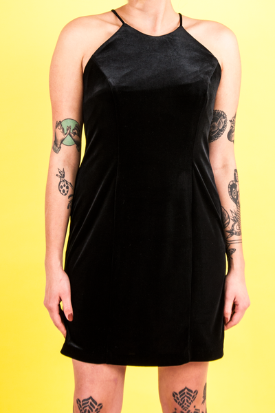 vintage black velvet mini dress