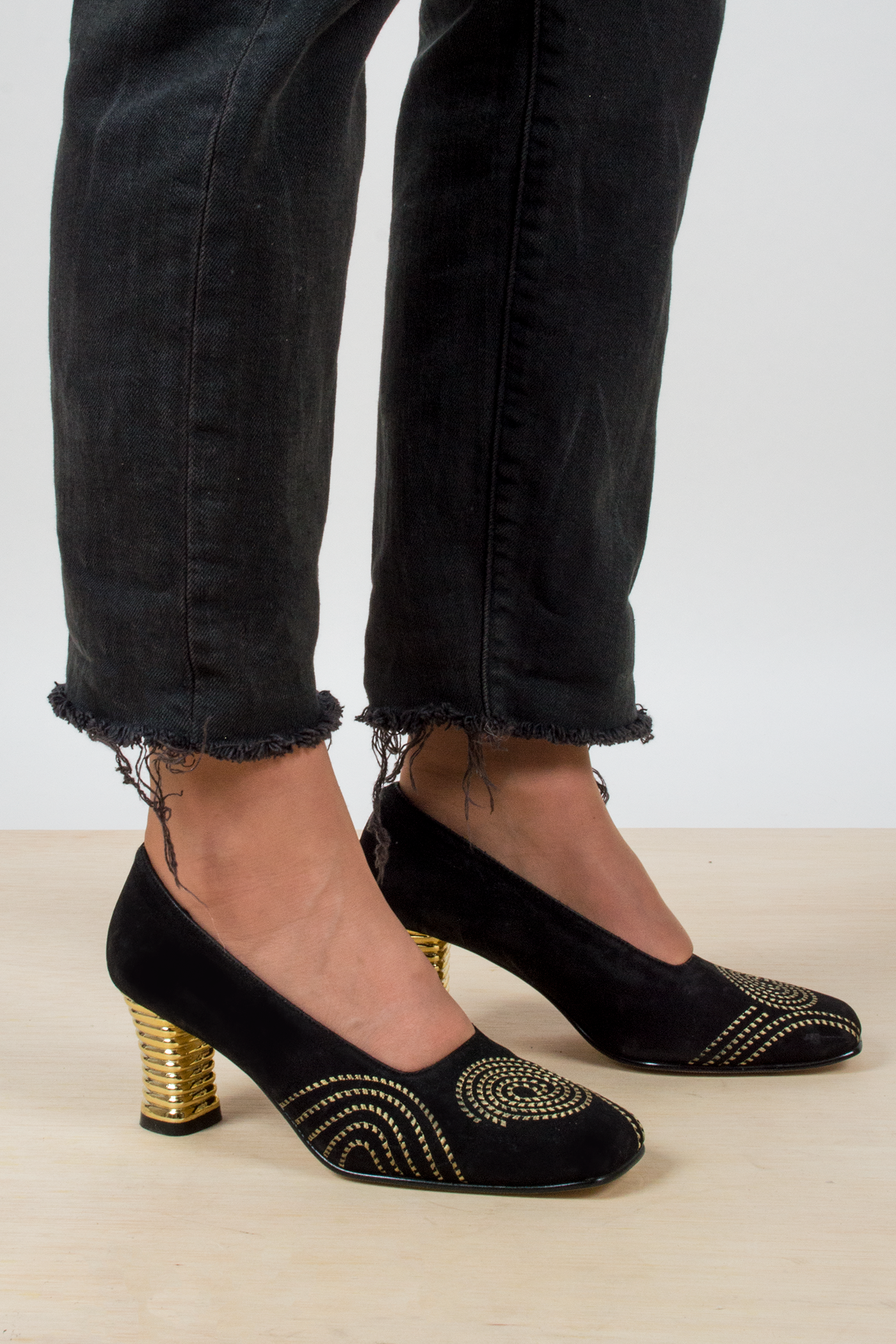 vintage velvet and gold pumps