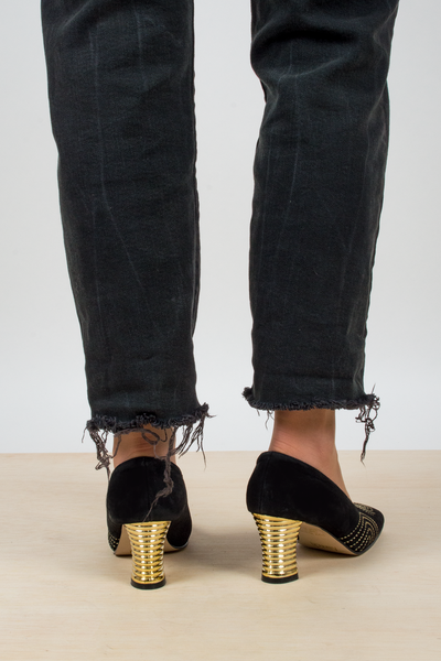vintage black velvet heels with gold details