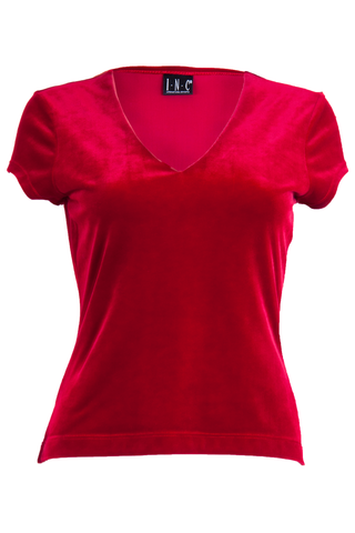 red velvet v-neck shirt