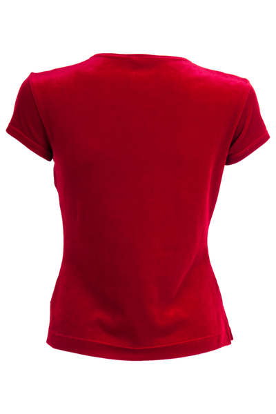 red velvet t-shirt with cropped sleeve