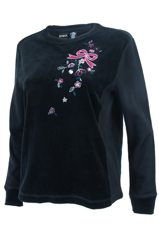 Black vintage velvet sweater with pink embroidered bow and ribbed sleeves.