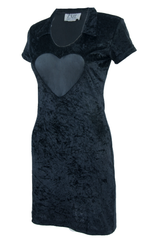 Vintage black velvet dress with heart mesh inlay
