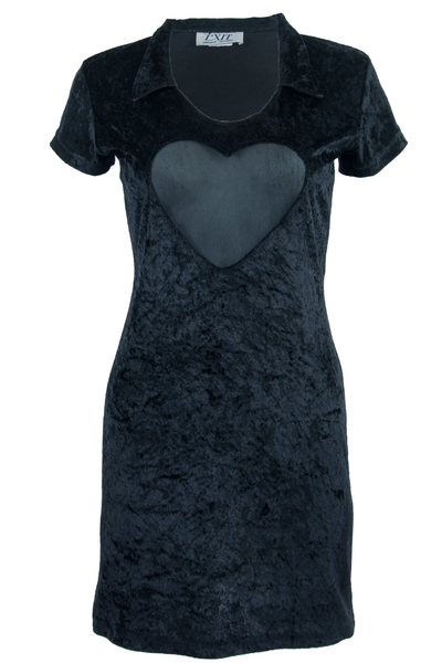 Black velvet vintage dress with mesh heart inlay
