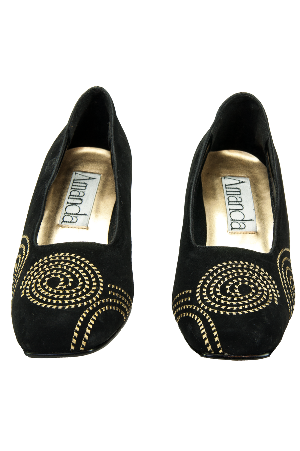 black velvet shoes with gold embroidery