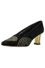 black velvet shoes with gold heel and metallic embroidery