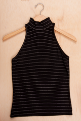 black and silver metallic striped Versace turtleneck tank top