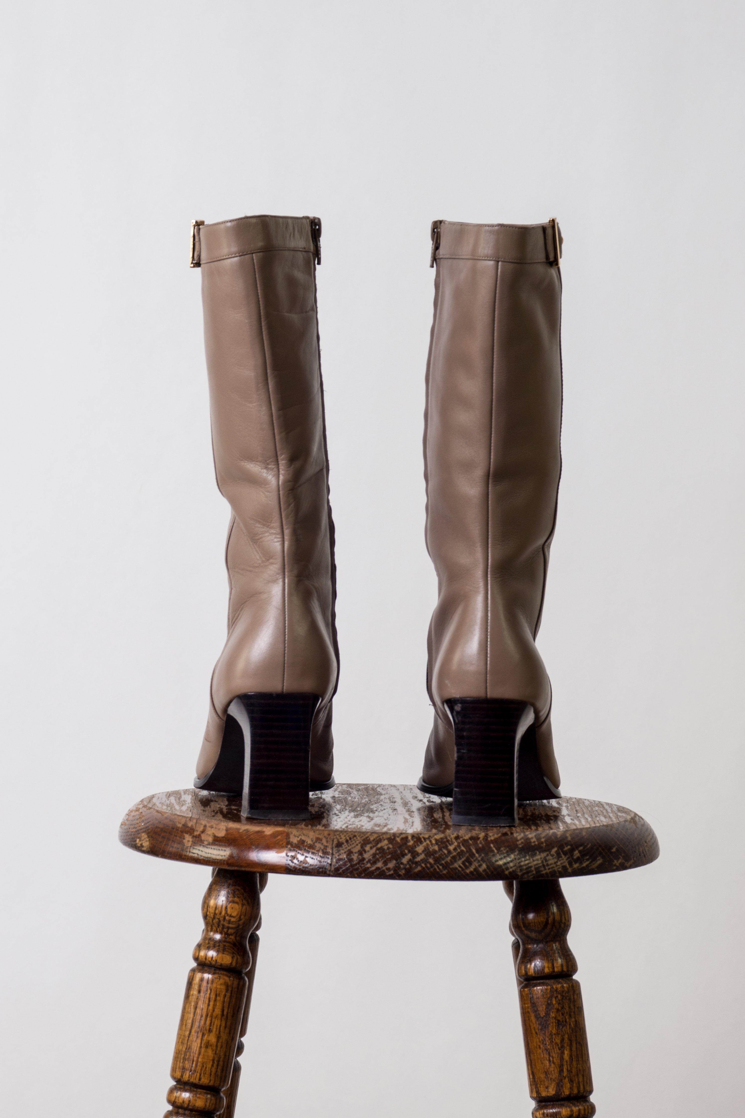 vintage taupe leather boots