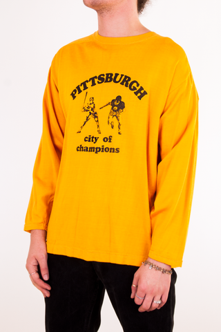 vintage yellow Pittsburgh raglan