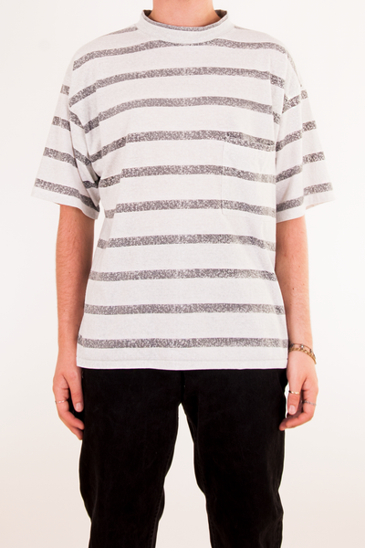 white and grey striped mock neck t-shirt