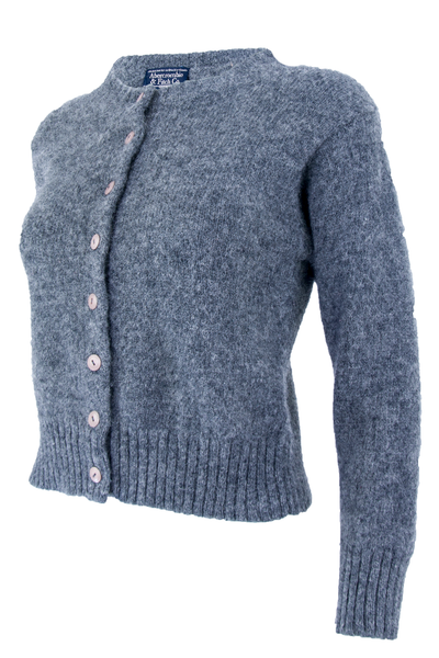 SIde view of a vintage Abercrombie and Fitch extra fuzzy wool cardigan with pink button closure at front and cropped length.