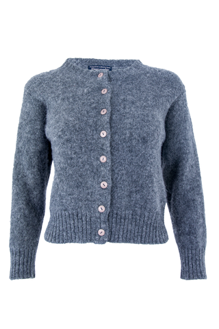 Front view of a vintage Abercrombie and Fitch extra fuzzy wool cardigan with pink button closure at front and cropped length.