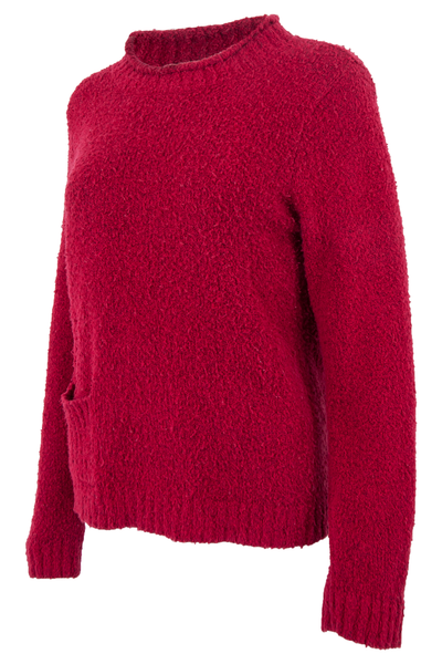 vintage red mock neck sweater featuring nubby-knit.