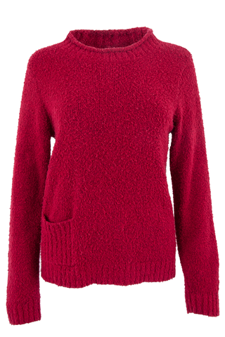 vintage red mock neck sweater featuring nubby-knit and pocket at hip