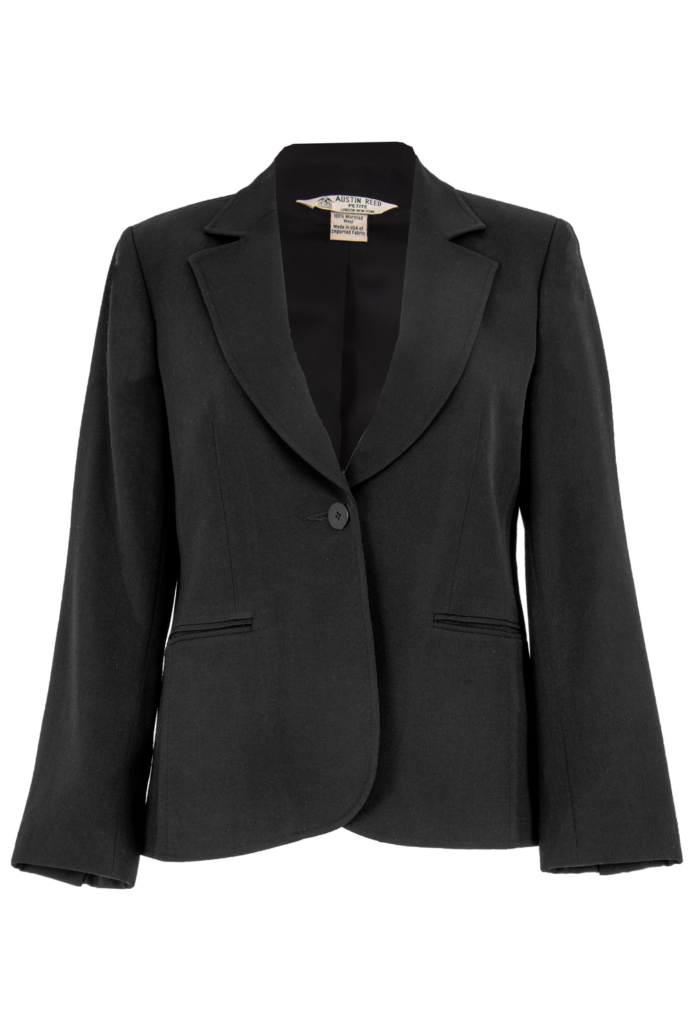 vintage black wool blazer with pointed lapel collar