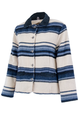 Vintage woolrich striped jacket in blue and white