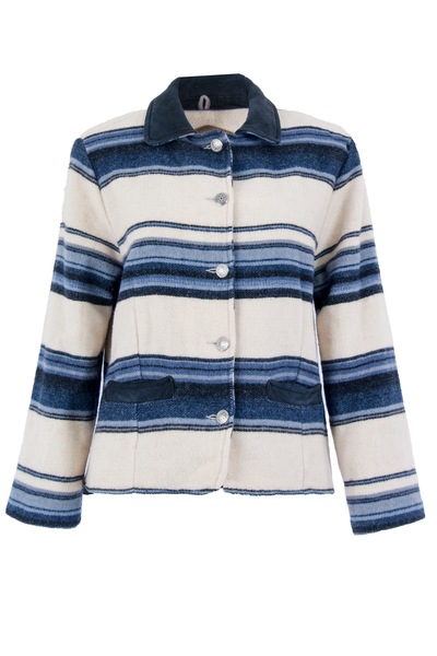 Vintage Woolrich jacket with cream and blue stripes