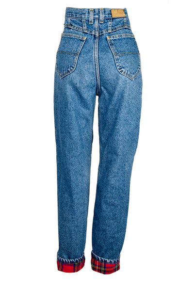 blue vintage jeans with red flannel lining