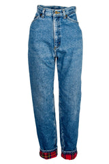 vintage blue jeans with red flannel lining