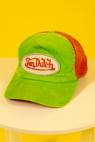 vintage Von Dutch neon green and orange snapback hat