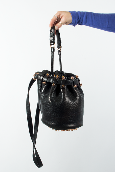 Alexander Wang Diego Bucket Bag in black with Rose Gold Hardware