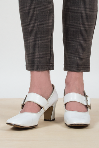 vintage white Mary-Jane heels