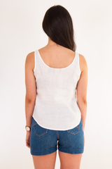 vintage white linen tank top and denim shorts