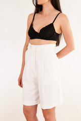 vintage high waisted white pleated shorts