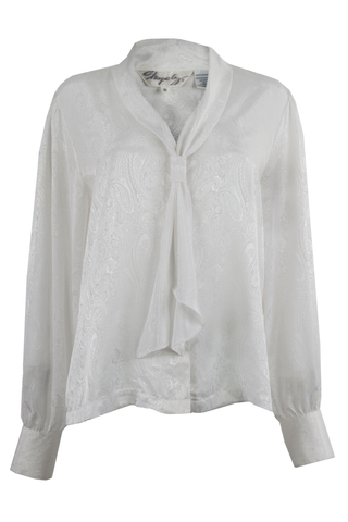 white blouse with paisley print and neck tie