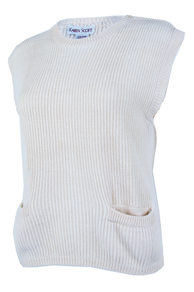 Side view of a vintage off-white sleeveless sweater with pockets at hip button decal at shoulder and ribbing throughout.