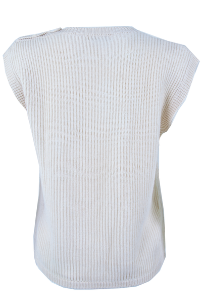 Back view of a vintage off-white sleeveless sweater with pockets at hip button decal at shoulder and ribbing throughout.