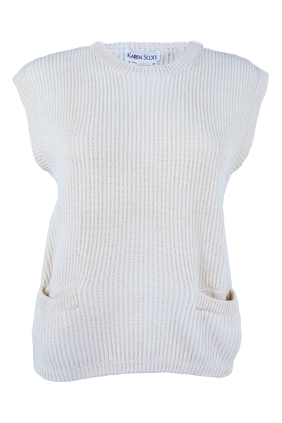 Front view of a vintage off-white sleeveless sweater with pockets at hip button decal at shoulder and ribbing throughout.