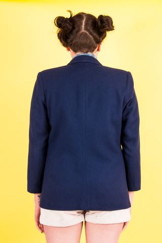 vintage navy blue wool blazer