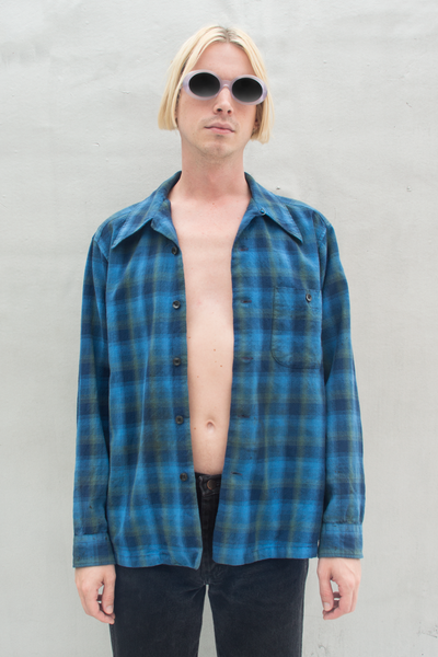 vintage Pendleton flannel in blue