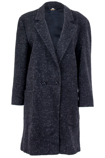 vintage black wool coat with white fleck throughout
