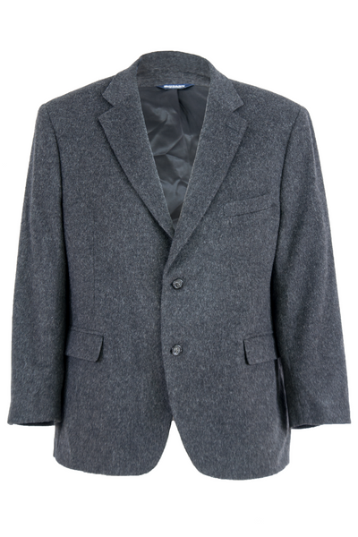 vintage blazer in grey with notch lapel collar and two button closure