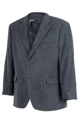 vintage grey blazer with notch lapel collar and two button closure