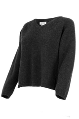 black v-neck sweater with cropped length